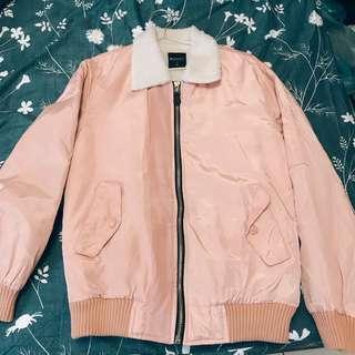 🚚 粉色鋪棉保暖飛行外套L
