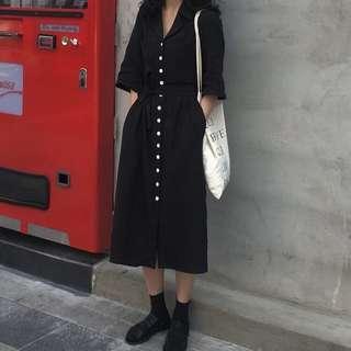Button Down Midi Dress in Black
