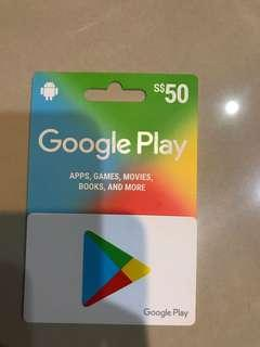 Google Play gift card S$50 value for sale or trade