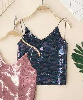 Brand new🔥Blue Sequin cami / camisole midriff top