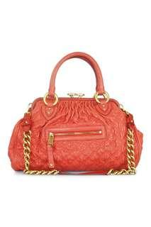 MARC JACOBS RED QUILTED LEATHER STAM BAG