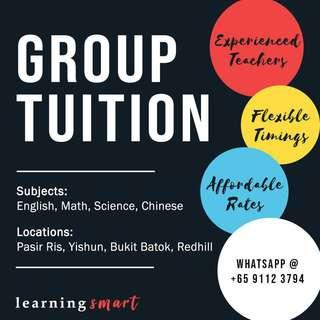Group Tuition English , Math , Science , Chinese - Redhill , Pasir Ris , Yishun , Bukit Batok ,