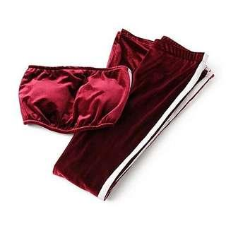 Velvet maroon red jersey side panel tube and pants 2 piece set