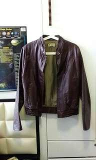 購自美國 Maroon Leather Jacket 棗紅色真皮皮褸 Midwest Zara biker 款