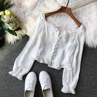 White Off Shoulder Frill Top