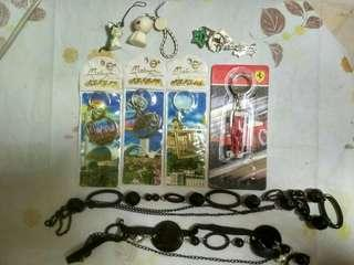 Mouse and Cats Keychains, Three Malaysia landmarks Keychains, Racing Car Keychains and Two Necklaces.
