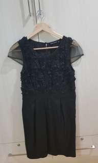 Petit Monde little black dress with floral top