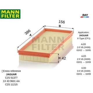 MANN AIR FILTER C38116, C 38116 , JAGUAR  X-Type (CF1),AJ20 2.0 V6 (X400) ,AJ25 2.5 V6 (X400) ,AJ30 3.0 V6 (X400)