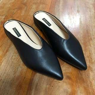 Women's Black Leather Flats Slip On Loafers Lazy Shoes (BN)