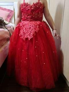 Red adjustable flower girl ball gown