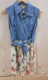 Floral and denim dress