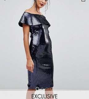 Asos Sequin Off Shoulder Midi Dress