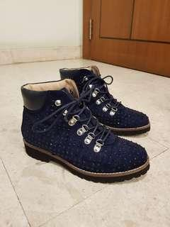 BN Andre lace up blue sparkly boots
