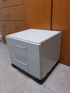 White Cabinet drawer bedside table with wheels