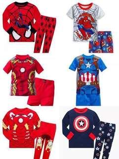 Christmas kids Spiderman captain america ironman boy pyjamas long  short Set 53eb58ddb