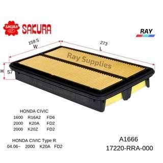 SAKURA AIR FILTER A-1666, A1666 ,17220-RRA-000 , HONDA (CIVIC TYPR R  K20A FD2- 04.06) ( CIVIC R16A2FD6,K20A FD2, K20Z FD2 )