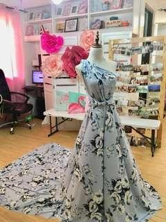 Floral Infinity Dress with Long Train - Dresslab by Audrey Sabandon