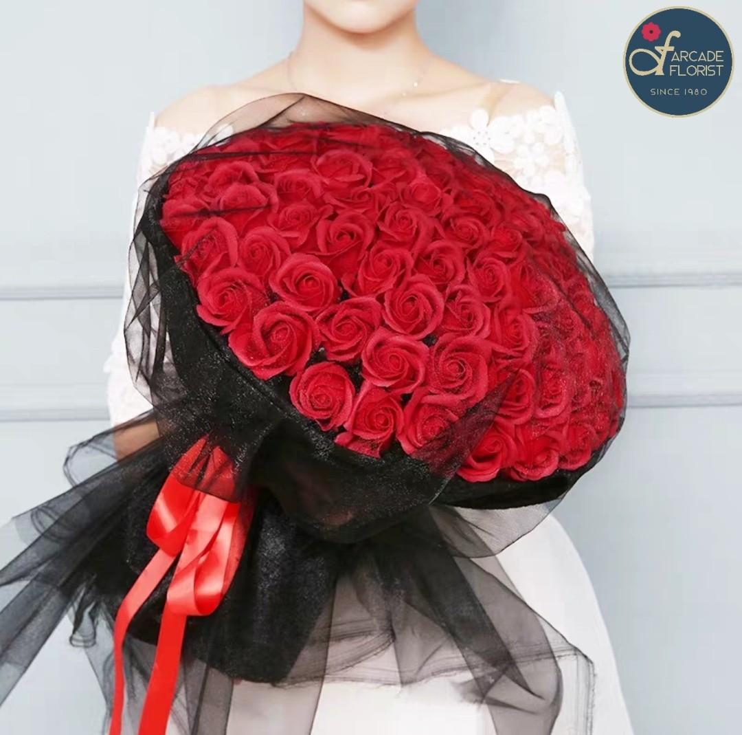50 Stalks Red Roses W Black Gauze Fresh Flower Bouquet Rose Flower Flower