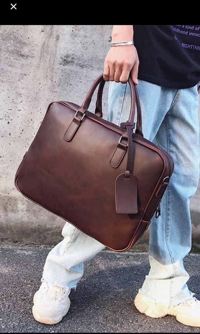 e6126c06f802 British Vintage Brown Laptop Bag - Brown Briefcase Laptop bag - Pu Leather  iPad Pro bag - Men briefcase - crazy horse leather mens bag