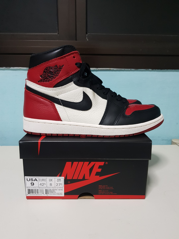 020a74a5 Air Jordan 1 bred toe US9, Men's Fashion, Footwear, Sneakers on ...
