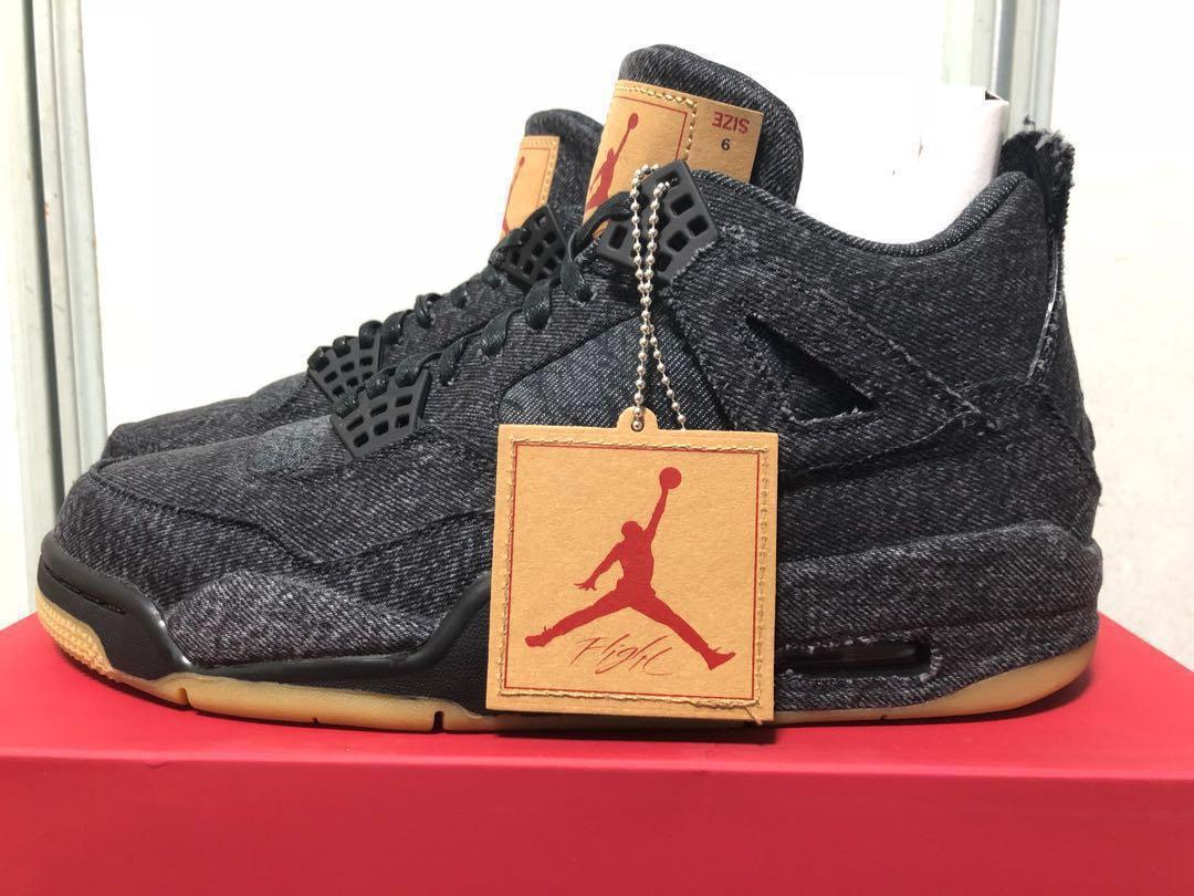 low priced e8fb7 87fe3 Air Jordan 4 Retro x Levi s NRG Black US 9, Men s Fashion, Footwear,  Sneakers on Carousell