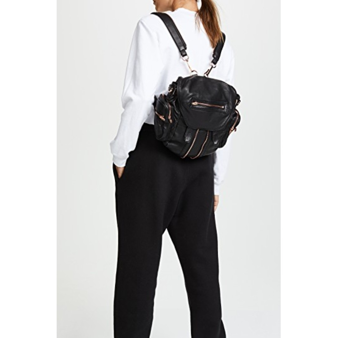 404f0b7149 Alexander Wang MINI MARTI BACKPACK IN WASHED BLACK WITH ROSE GOLD ...