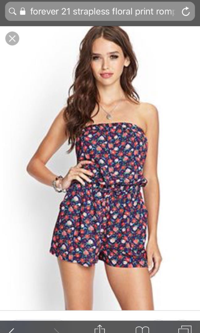 0c5f9a2a86f5 BN Forever 21 Strapless Floral Print Romper  Forever 21 Floral ...
