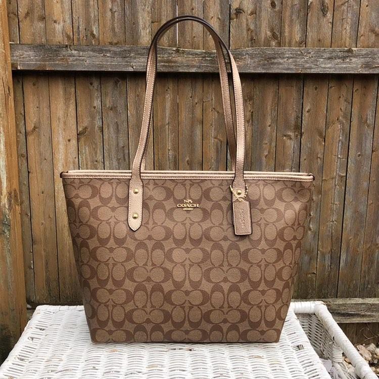 62b0c94a9 ... get coach signature city zip tote in khaki metallic rosegold womens  fashion bags wallets handbags on