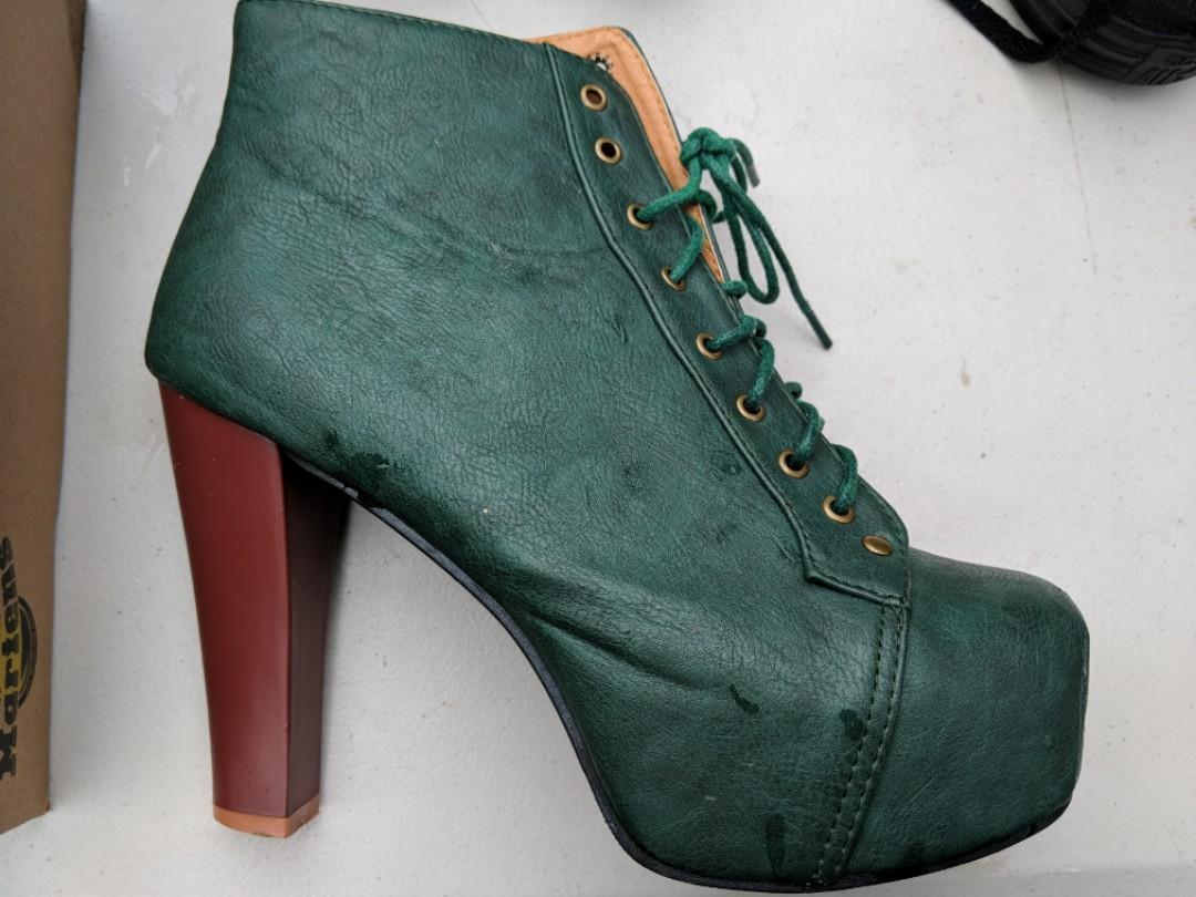 Green heeled boots size EU 39