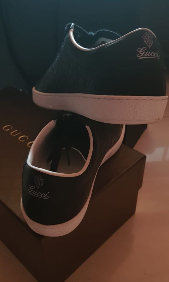 006bcdb12 Gucci Black Brooklyn Guccissima Rubberized Leather Sneaker Shoes ...