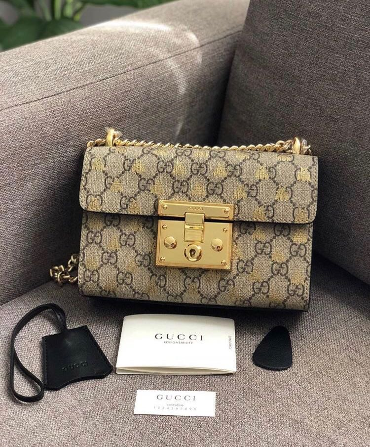 d1a47ec0f Gucci Padlock Small GG Bees Shoulder Bag, Luxury, Bags & Wallets on  Carousell