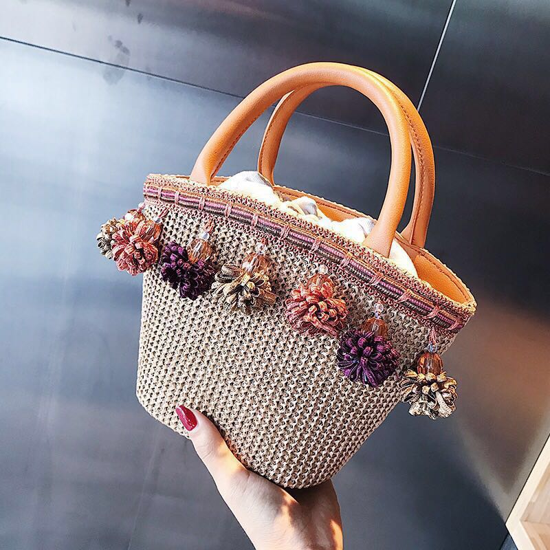 0bb8a88d63 Handbag sling bag straw weaves type brown