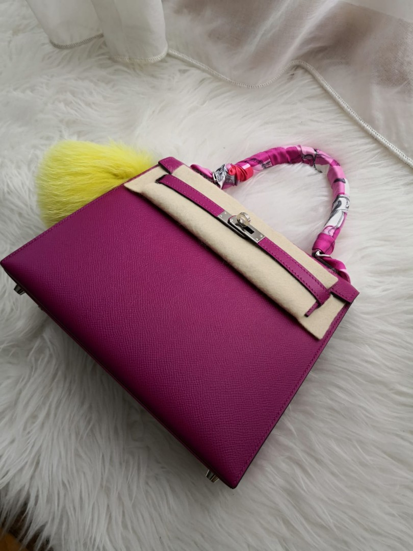 c5527c31f19 Hermes Kelly Sellier 25 in Rose Poupre, Palladium hardware, Luxury, Bags    Wallets, Handbags on Carousell
