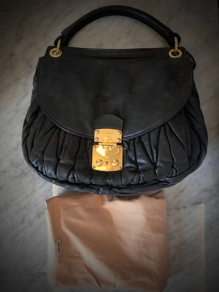 c3fe7c350492 Miu Miu Shiny Calf Leather Matelasse Convertible Bag- Black (Pre-owned