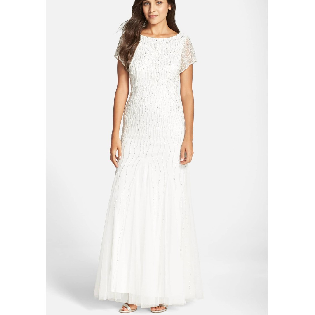 5c274bbeac1 NEW Adrianna Papell white beaded long dress gown UK8-10