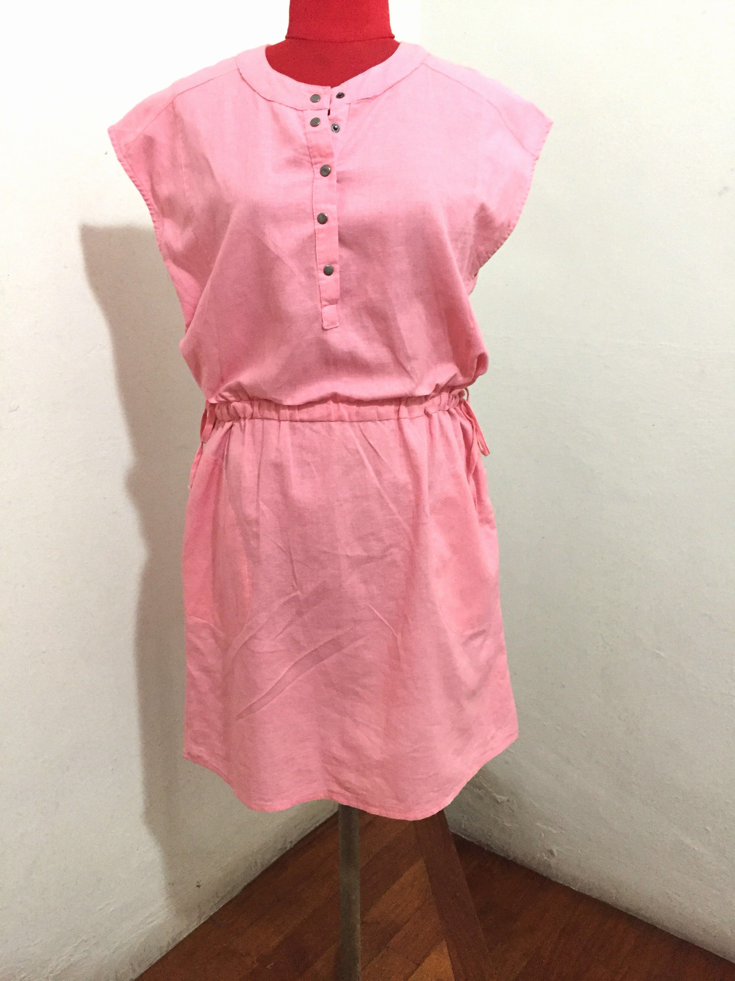2968567c1703fa Pink sleeveless button down dress