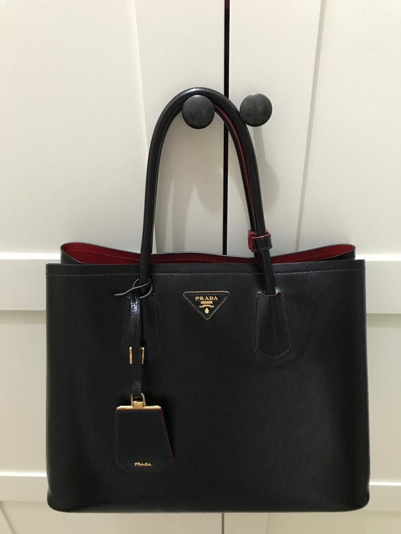 94a4625364cf5a Prada Saffiano Double Bag, Luxury, Bags & Wallets on Carousell