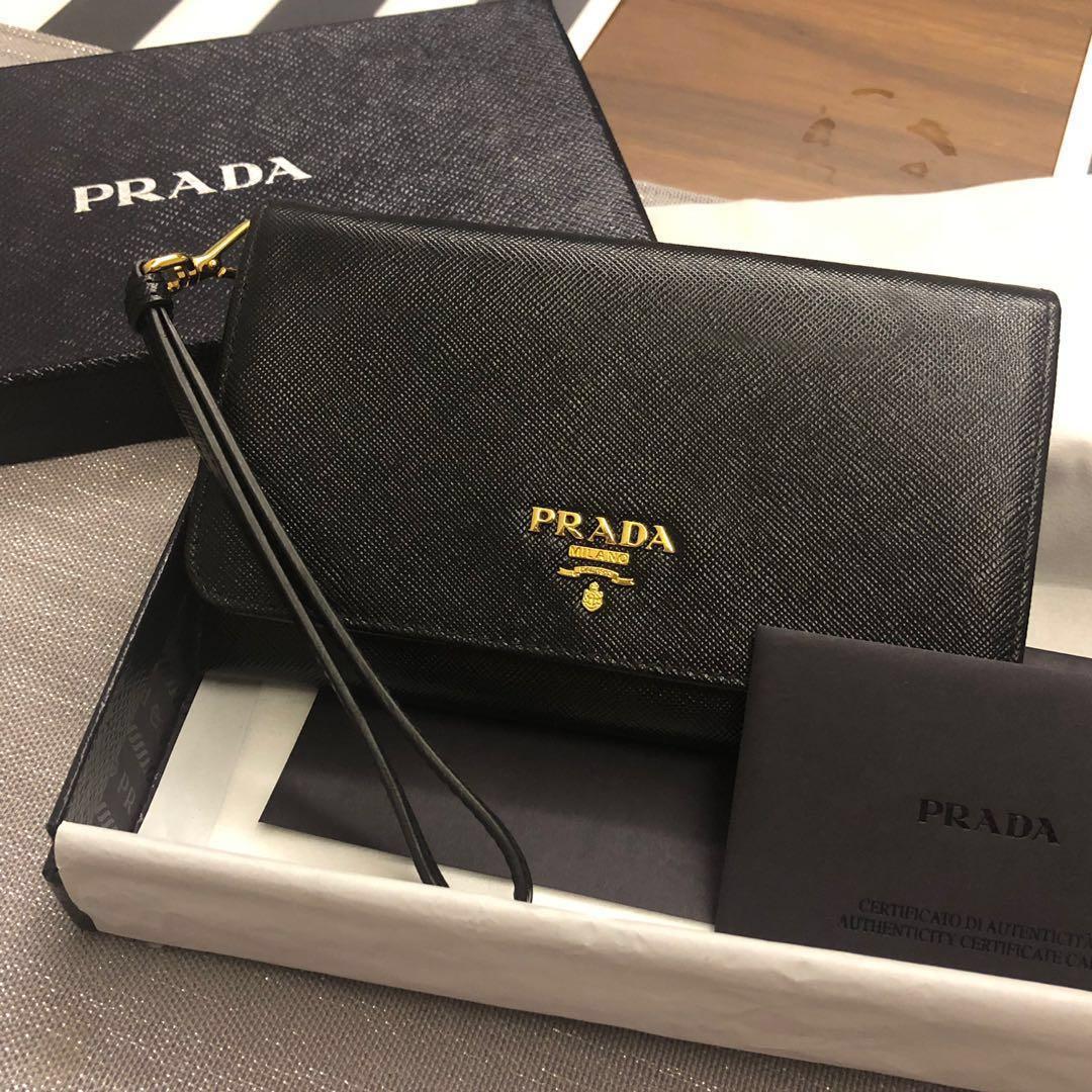 0466fdf681 Prada saffiano leather wristlet - 1MH037, Women's Fashion, Bags ...