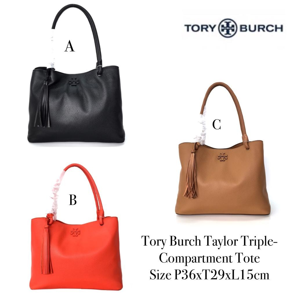 ddfdc860386 💐READY💐 Name   Tory Burch Taylor Triple-Compartment Tote Size    P36xT29xL15cm Harga   2.900.000 Berat   1