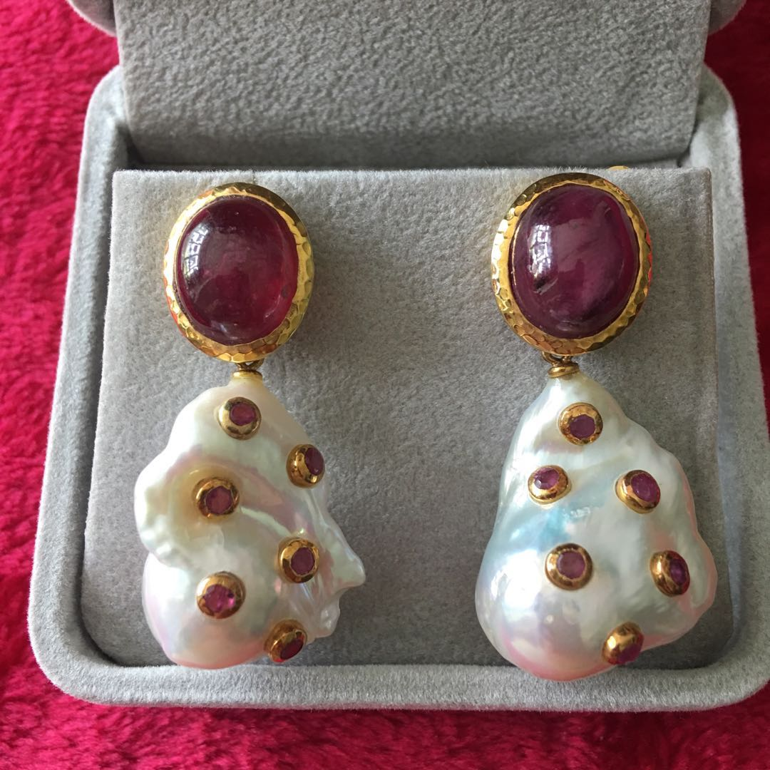 7293912a6 Ruby earrings with baroque pearl, Luxury, Accessories, Others on ...