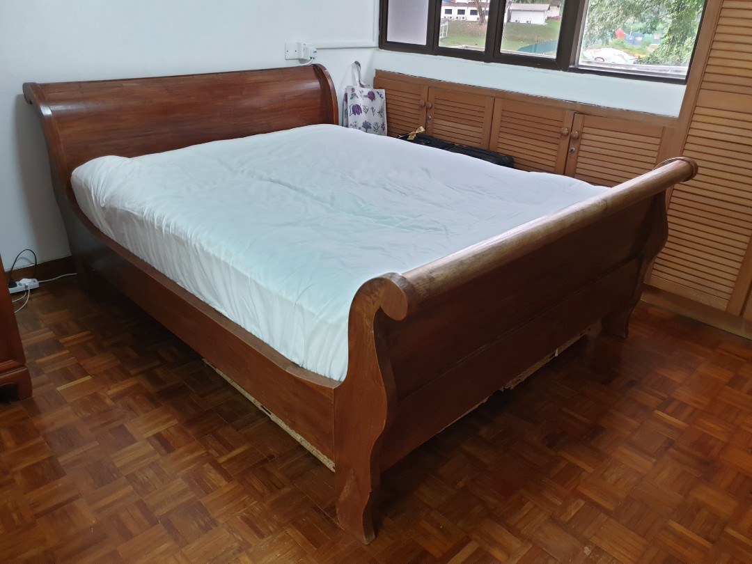 Burmese Teak Sleigh Bed Frame Queen Size From Dempsey Furniture