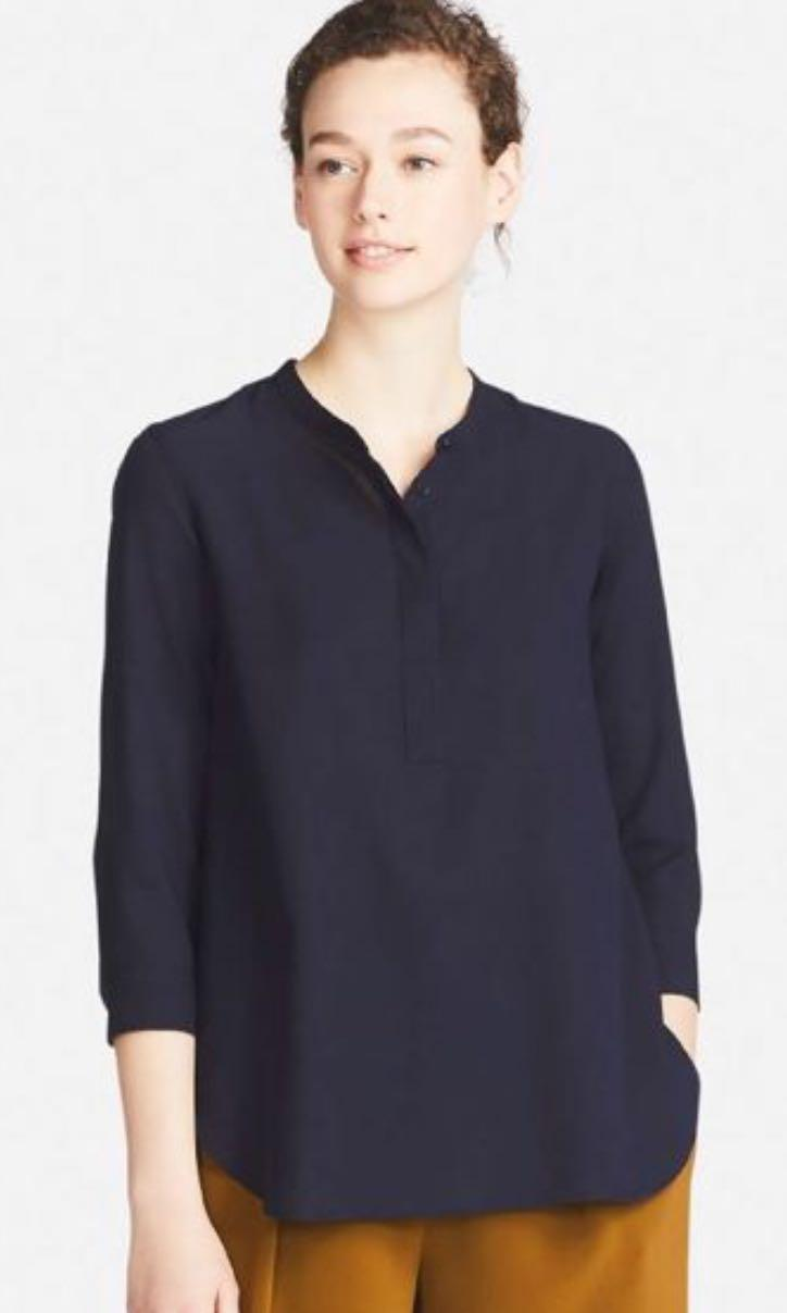 Uniqlo Navy Rayon Skipper Collar Blouse