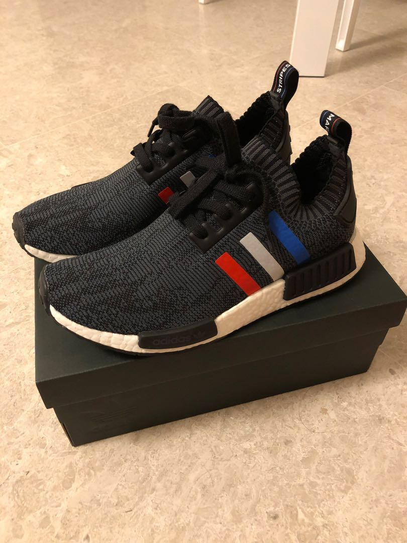 440b00707a42d US8 Adidas NMD R1 PK Tri Colour Stripes Black