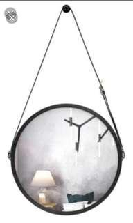 In stock! Round circular hanging mirror with belt