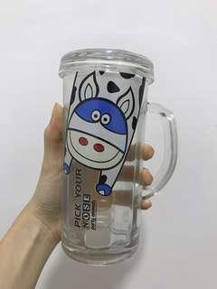 Drinking glass (printed with cow)