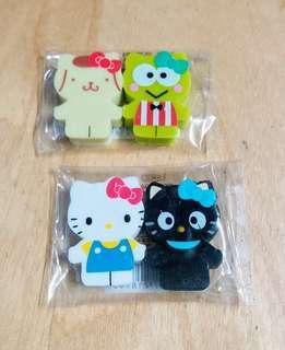 卡通/文具類: Hello Kitty系列擦膠四件