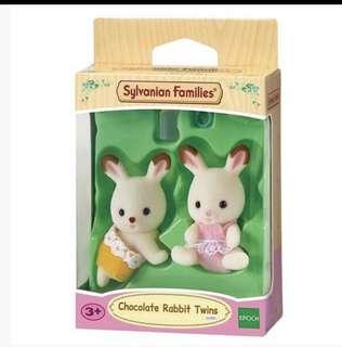 🚚 BN Sylvanian families / Calico Critters Chocolate Rabbit Twin