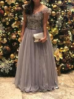 Gray Off-Shoulder Ball Gown