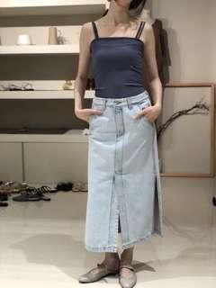 韓國 平口羅紋背心-F-藍