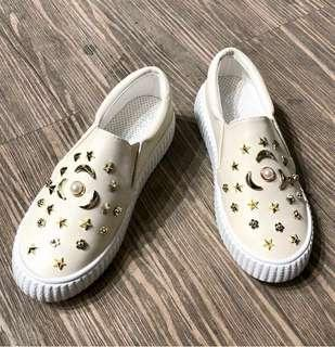 Sepatu Import Korea Coco Onal Wanita Murah - Slipon Putih Corak - Sneakers Wedges Murah - Sepatu Kuliah Kekinian - Sepatu Branded Import Bandung